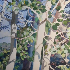 Suzanne Demeo, Watercolors / Laura Moore Designs / Stacey Allin, Gladmist Glass @ Downstairs Gallery | Williamsburg | Virginia | United States